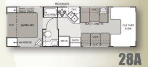 Motorisé classe C aménagement intérieur, VR à louer, RV Rental, Location VR
